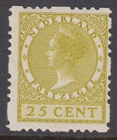 The Netherlands 1928 - Wilhelmina type 'Veth' deviant syncopated perforation - NVPH R51a, with inspection certificate