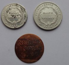 Dutch East Indies - ¼ guilder and ½ guilder 1826 - silver
