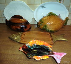 Large fish ceramic pieces - 2 soup tureens, 1 cutting board, 2 serving plates (5 x)