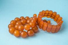 Baltic Amber set of necklace and bracelet, honey butterscotch egg yolk color, weight: 83 gram