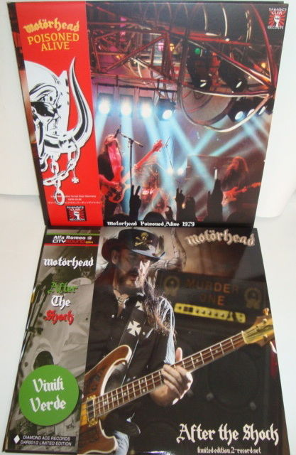 Mötorhead:  Poisoned Alive (Live Weissenohe To Act Club / Germany 26th October 1979) (Red Vinyl) +  After The Shock 2xLP Live @ Alfa Romeo City Sound Festival 24 June 2014 Milano (Green Vinyl) + 4 beautiful live photo's !