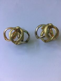 Earrings in 18 kt yellow, white and rose gold