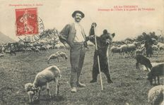 "France - Old postcard ""Ours"" Ariège Department 09 - Ax les Thermes - Taming of the bear for the care of the flock"