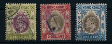 Hong Kong 1903 - King Edward with watermarks No. 2, $1, $2, $3 and revenue stamp from 1938 - Michel 71, 72, 73 and 16