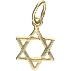 14 kt Yellow gold pendant in the shape of a star of David. - length x width: 1.5 x 0.9 cm