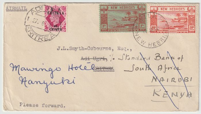 Great Britain 1952 - New Hebrides - BOIC - Eritrea - Forwarded Cover
