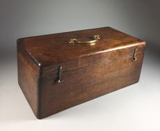Oak craft chest with brass fittings - England - late 19th century