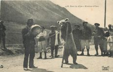 "France - Old postcard ""Ours"" Aix les Bains - Savoie department 73 - in the Alps - the bear tamer"