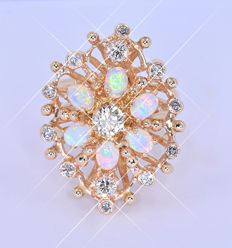 Opals and Diamonds ring NO reserve price!