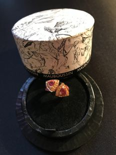 "Mauboussin - 18 kt rose gold ring and 2 ""triangle"" shaped Tourmalines + Diamonds and Sapphires *Collector's item* - size: 49"