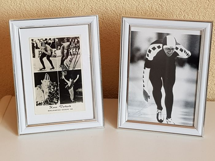 Kees Verkerk en Leo Visser - Olympic ice skating legends - 2 hand-autographed framed photos + COA.