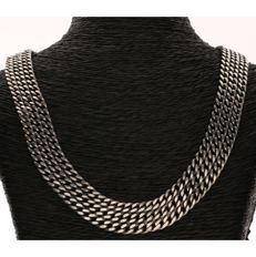 925 Silver three-row gourmet link necklace with safety chain - Length: 41 cm