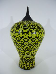 "Marty Glass Murano - ""Arabesque"" large vase with Murrine, Arabesque Micromosaic, unique piece 40 cm"