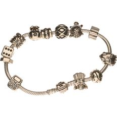 925 silver Pandora bracelet with 13 charms in the shape of a hedgehog, mobile phone, turtle, etc., see photos - length: 20 cm