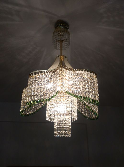 A gold and daisy green crystal chandelier 1980s catawiki a gold and daisy green crystal chandelier 1980s aloadofball Images