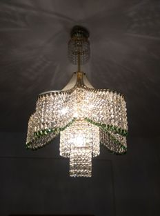 A Gold and Daisy green crystal chandelier, 1980s