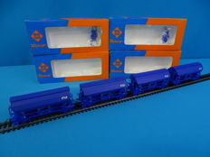 Roco H0 - 46419 - Tågset, Vagn - 4 x Zelflossers met lading - NS