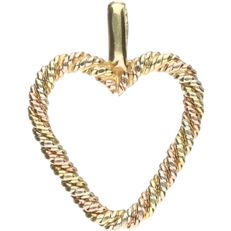 14 kt, Tricolour, white, yellow and rose gold pendant in the shape of a heart. - length x width: 1.6 x 1.3 cm