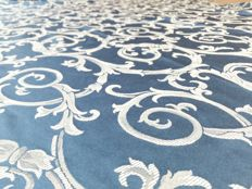 Luxurious and large round tablecloth of blue colour - Cotton - Damask linen - Diameter 300