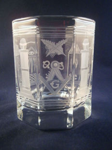 Glass - hand-engraved with Masonic/Freemason motif