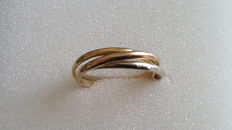 Three-band ring in 18 kt 750 gold, size 52
