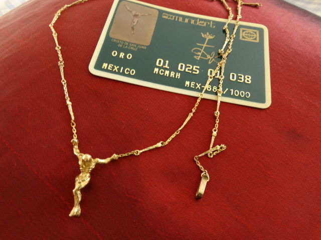 Salvador Dali, original solid 18kt yellow gold Jesus with COA, authentic sculpture