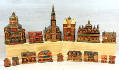 Collection of handmade jewellery cases, model village 15 x