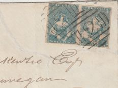Australia Victoria 1858 - Four margin pair Queen Half-Lengths on cover