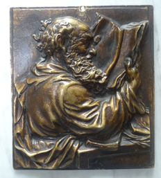 Bronze; Plaque with portrait of Johannes Gutenberg - first half 20th century