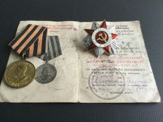 The order of the Patriotic War - Medal for victory over Germany (За Победу над Германией) original papers. Soviet Union