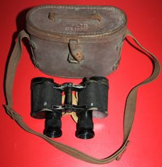 Pair of WWII Air Ministry binoculars marked and dated 1943, in brown leather case,also marked, optics in good condition