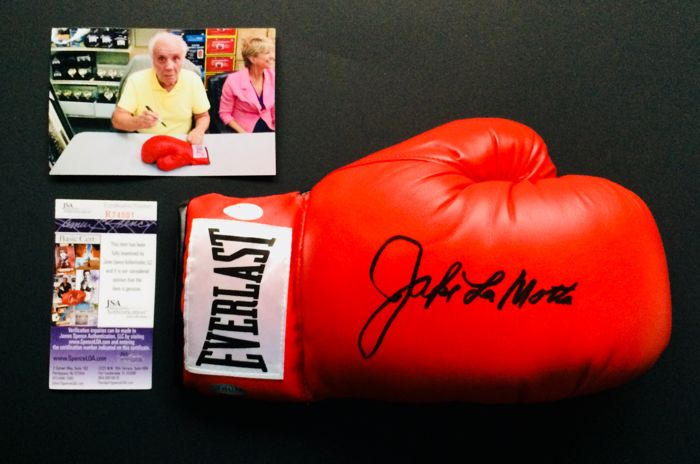 Jake LaMotta / Authentic & Original Signed Autograph in a Everlast Red Boxing Glove - with Certificate of Authenticity JSA & Photo Proof