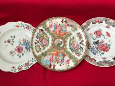2 Famille rose plates and a Canton plate  - China -  18th and 19th century