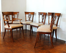 Set of 6 elm wood Empire chairs, the Netherlands, ca. 1820