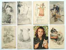122 x-fantasy quality cards-including illustrators, folk costumes, performers, animals, embossed cards, lithography, Easter, angels ...