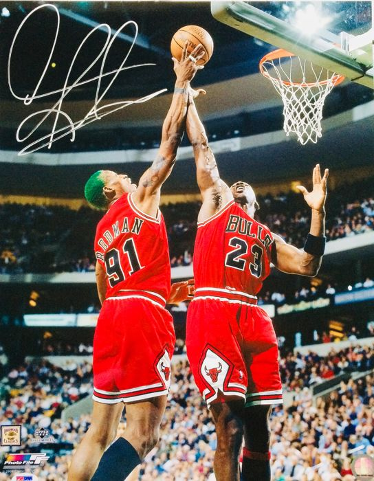 Dennis Rodman #91 / Authentic & Original Autograph in Professional Photo ( 40X50 cm ) - with Certificate of Authenticity PSA/DNA