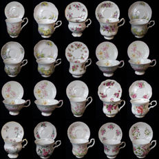 Collection of 20 exclusive English porcelain cups and saucers,