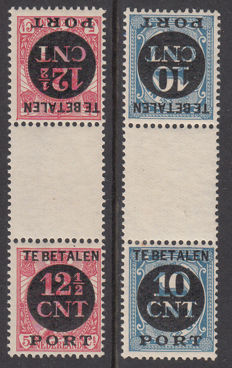 The Netherlands 1924 - Postage due tête-bêche - NVPH P67B + P68B, with befund