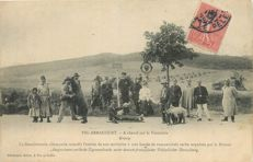 "France - Old postcard ""Ours"" Moselle Department 57 - Vic Arracourt - The German gendarmerie refuses entry on their territory to a bunch of Serbian Gypsies"