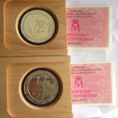 Spain - 1992 Barcelona Olympic Games - 2000 pesetas silver - (bowling) (tennis) - (lot of 2 coins)