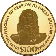 Fiji – 100 Dollars 1974 '100th Anniversary of Cession to Great Britain' - gold