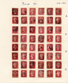 Great Britain Queen Victoria 1856/1879 - Stanley Gibbons 36/43/44 1d Red Plate 84 and 1d Star Reconsructions and 1d Red Set Of Plates
