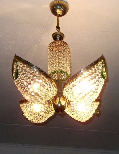 A brass and Daisy green crystal chandelier, 1970s