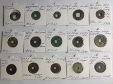 China – Lot of Chinese collection coins (179 BC/1681 AD) including West Han, Wang Mang, Tang, and others (15 pieces)