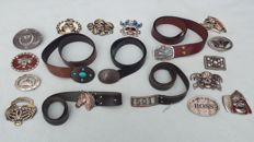 Collection of 18 buckles + 5 belts