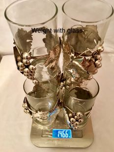 Sterling Silver Juice Glass Holders set of 6 Mexico, 20th Century