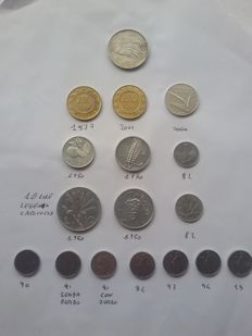 Italy, Republic - Lot of 17 coins from 1950 to 2001