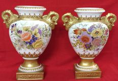 Pair of vases made of enamelled and gilt ceramic - Napoleon III style