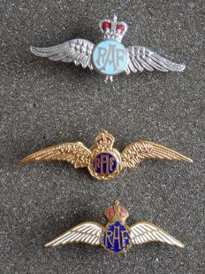 3 beautiful enamel pins/brooches of the R.A.F. Royal Air Force