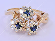 1.63 Ct Sapphire, Diamond floral ring NO reserve price!